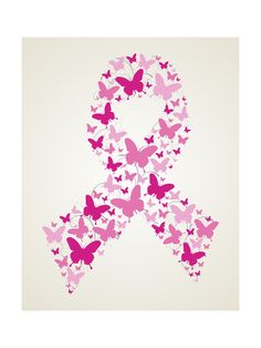 Butterfly in Breast Cancer Awareness Ribbon Art Print at AllPosters.com