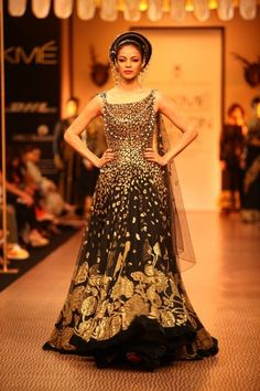 Nikhil Thampi black and gold anarkali dress