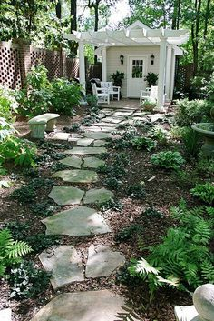garden shed with rustic flagstone pathway