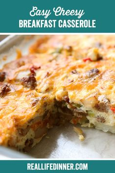 Potatoes, sausage, onions, and peppers, baked together with eggs and cheese. This super simple breakfast casserole is perfect for holiday breakfasts or when you need to feed a crowd. Best Breakfast Recipes, Brunch Recipes, Breakfast Ideas, Pork Recipes, Cooking Recipes, Breakfast Casserole Easy, Perfect Food, Quick Meals, Casserole Recipes