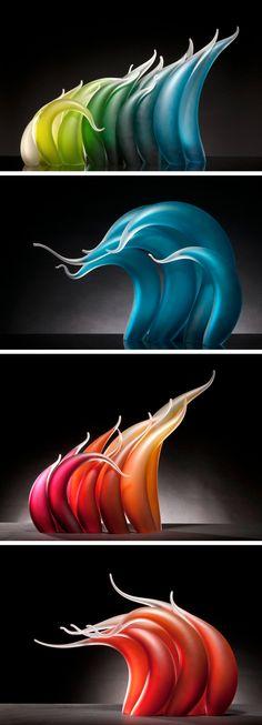 Undulating Glass Sculptures by Rick Eggert