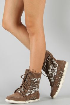 Lace Up Tribal Moccasin Boot!! cute!