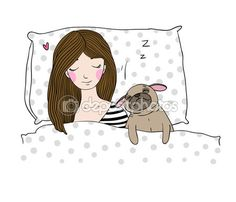 Sleeping beautiful young girl and a cute pug. — Vector de stock #118188336