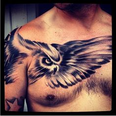 Realistic Flying Owl Tattoo On Chest