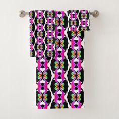 Pink neon tapestry style vintage ornament U8r5 Bath Towel Set - personalize custom customizable