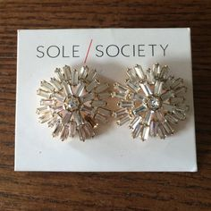 Sole Society Earrings Deco Statement Studs. Never been worn. About the size of a quarter. Missing a stud, but not super noticeable. Offers welcome💕 Sole Society Jewelry Earrings