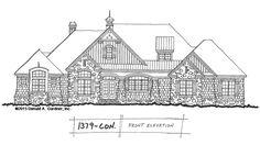 Conceptual Design #1379: Craftsman Ranch with Rear Garage