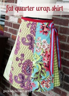 Fat quarter wrap skirt tutorial by Melissa at polka dot chair. #sewing