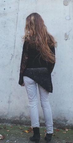 Black lightweight  grunge loose knit  alpaca mix by ileaiye, $115.00
