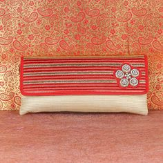 Red & Cream Clutch With Sling