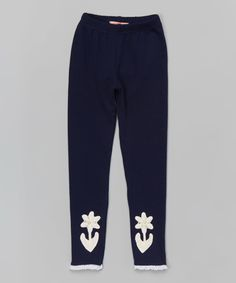 36554e41afd3f Look at this Navy Flower Leggings - Toddler & Girls on #zulily today!