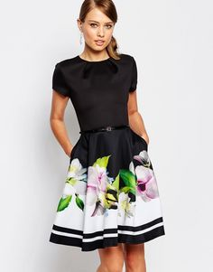b26cb707a7928c Image 1 of Ted Baker Vidaa Skater Dress in Forget Me Not Trellis