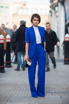 17 Looks with Fashion Suits Glamsugar.com Miroslava Duma in blue suit