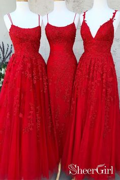 This dress comes in a variety of colors--red, yellow, dark blue, sky blue. #lace #applique #long #boho #red #yellow #spaghettistraps #promdresses #eveningdresses