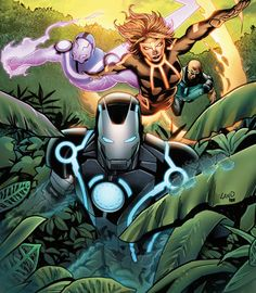 Iron Man vs Living Laser (Arthur Parks), Vibro (Alton Vibereaux) and Firebrand by Greg Land