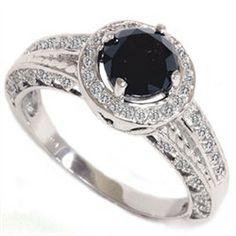 1.25CT Vintage Black Diamond Engagement Ring Heirloom Antique 14K White Gold Size 4-9 on Etsy, $688.98 AUD