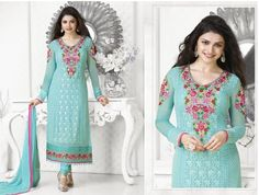 Pure Gorgette Long Length Designer Suit.