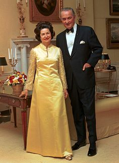 "Lyndon Baines Johnson (1908-1973), 36th President of the United States (1963–1969) and First Lady Claudia Taylor ""Lady Bird"" Johnson (1912-2007). On their first date Johnson proposed. Lady Bird did not want to rush into marriage, but Lyndon Johnson was persistent and did not want to wait. Lady Bird accepted his proposal 10 weeks later. The couple married on November 17, 1934."