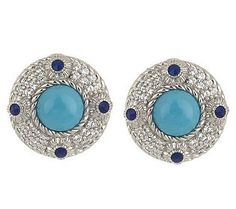 Judith Ripka Sterling Turquoise & Lapis Flower Button Earrings