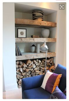 Living Room Wood Burner Firewood Storage Ideas For 2019 Home Living Room, Living Room Decor, Living Spaces, Alcove Ideas Living Room, Log Burner Living Room, Living Room Shelves, Living Room With Stove, Rustic Living Rooms, Niche Living