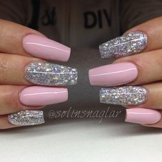 Baby Pink with holographic glitter coffin nails