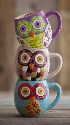 Colorful owl mugs