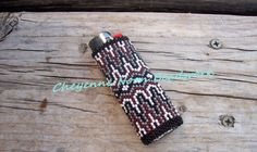 Native American Beaded Lighter Cover - GREY HILLS in Rust
