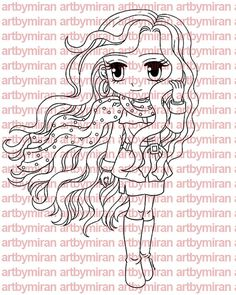 Digital Stamp - Uptown Girl Casandra, Coloring page, Printable Line art for Card and Craft Supply