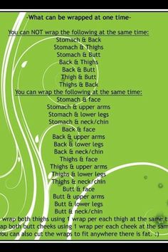 Here is an easy guide to what can be wrapped at one time. www.jessicashick.myitworks.com