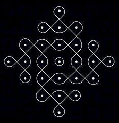 Chikku Pulli Kolam With Dots Rangoli Designs Latest, Rangoli Designs Diwali, Rangoli Designs Images, Kolam Rangoli, Beautiful Rangoli Designs, Indian Rangoli, Free Hand Rangoli Design, Small Rangoli Design, Rangoli Designs With Dots