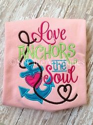 Love Anchors The Soul Applique - 5x7 | What's New | Machine Embroidery Designs | SWAKembroidery.com So Cute Appliques