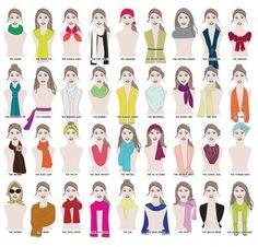 Combien de façons y a-t-il de porter une écharpe? UN MILLION DE FAÇONS. | 41 graphiques sur la mode qui peuvent servir à toutes les femmes