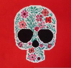 Red+Flowers+Sugar+Skull+Cross+Stitch+Pattern+by+HanksPatternPlace,+$4.50