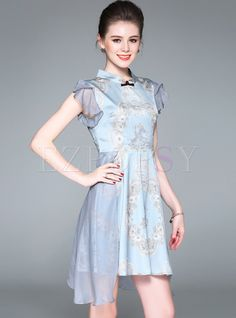 Shop for high quality Mesh Stitching Stand Collar Lotus Leaf Sleeve Skater Dress online at cheap prices and discover fashion at Ezpopsy.com