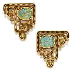 PAIR OF GOLD AND TURQUOISE CLIP-BROOCHES, MARCUS & CO., LATE 19TH CENTURY