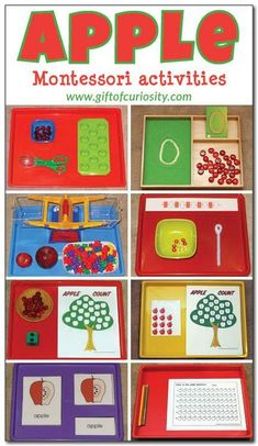 A great collection of apple-themed Montessori activity ideas for kids ages 2-5. || Gift of Curiosity