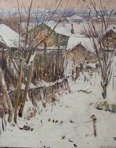 "Mikhail Tkachev - First Snow  19 1/2"" x 15 5/8"" oil"