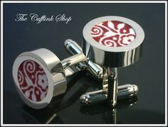 COTTON (2nd) SECOND ANNIVERSARY - HIGH QUALITY CUFFLINKS - (Cotton Fabric - Cranberry Print Accents) - Classic Design - Silver Cufflink
