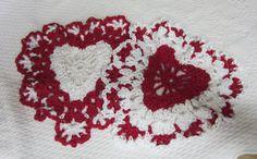 Crochet Dishcloth,Washcloth,Cotton Dishcloths,Heart Shaped Dishcloths,Hearts,Valentines,Red Heart,Kitchen,Retro,Housewares,Set of two,Gifts