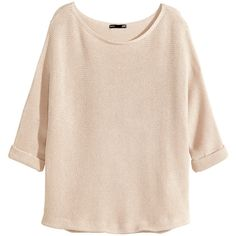 H&M Purl-knit jumper (31 AUD) found on Polyvore featuring tops, sweaters, shirts, blusas, light beige, beige sweater, pink sweater, knit jumper, beige knit sweater and pink shirt!