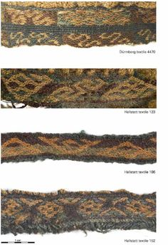 Complex tablet weaves with intricate motifs on Iron Age Celtic fabrics from Hallstatt and Dürrnberg, Austria. Inkle Weaving, Weaving Tools, Inkle Loom, Card Weaving, Celtic Clothing, Tablet Weaving Patterns, Medieval Crafts, Textiles Techniques, Viking Age