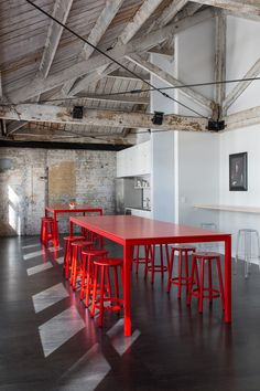Red tables and stools