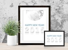 2015 New Year Art Prints | 8x10 and 5x7 New Years Printable | Instant Download | Happy New Year 2015 | Holiday Decor