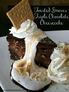 Copycat Cheesecake Factory Toasted S'mores Chocolate Cheesecake  |  Hugs and Cookies XOXO