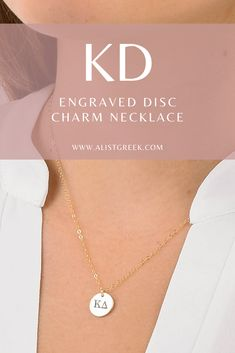 Engraved KD greek letter charm necklace from www.alistgreek.com! #discnecklace #charm #sororitynecklace #customgift #personalized #handmade #custom #sororityjewelry #necklace #greekletters #sororityletters #loveyourletters #bidday #graduaton #biglittlereveal #kappadelta #kaydee #kappa #kd