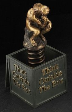Think Outside The Box Bronzed Sculpture T.P.
