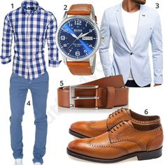 Elegant men's outfit with white and blue checked shirt by Amaci & Sons, light blue chino, Hugo Boss wristwatch, Ozonee jacket, light brown Tommy Hilfiger leather belt and Gordon & Bros shoes.  1. Shirt► amzn.to/2FUQYNy 2. Clock► amzn.to/2KMzAyf 3. Blazer► amzn.to/2KI7LqO 4. Chino► amzn.to/2HYEvhU 5. Belt► amzn.to/2rutSZg 6. Shoes► amzn .to / 2IuGlGC Komplette Outfits, Casual Outfits, Fashion Outfits, Chinos Men Outfit, Light Blue Chinos, Stylish Men, Men Casual, Herren Style, Herren Outfit