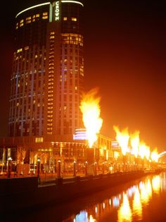 Fire Show in Front of Crown Casino, Melbourne, Australia  By: John Banagan
