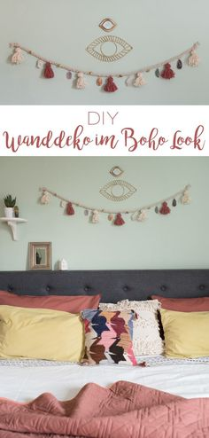 DIY – Wanddeko im Boho Look – Leelah Loves DIY – Wanddeko im Boho Look – Leelah Loves,DIY Wanddeko/ The Wall DIY – selbstgemachte Wanddeko Girlande im Boho Look mit Quasten aus Wolle und. Look Boho, Décor Boho, Boho Diy, Decoration Bedroom, Diy Wall Decor, Diy Home Decor, Home Decoration, Diy Wanddekorationen, Homemade Wall Decorations