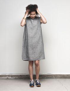 Lucy Tank Dress: Black Houndstooth – Shop Fog Linen